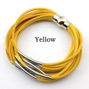 Layered Gold & Silver Tube Bracelets - Silver Yellow