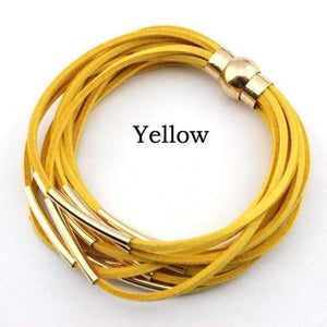 Layered Gold & Silver Tube Bracelets - Gold Yellow