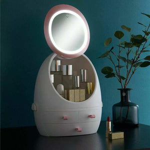 LED Mirror Makeup Storage - Storage Boxes & Bins - Box with LED Light - led-hd-mirror-makeup-storage