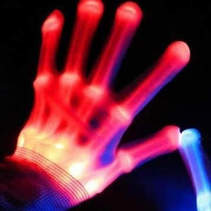 LED Skull Finger Gloves - Glow Party Supplies
