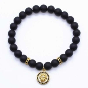 Lion Head Charm With Black Matte Beads - Gold