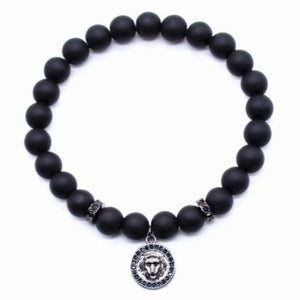 Lion Head Charm With Black Matte Beads - Black