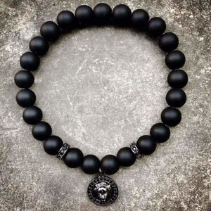 Lion Head Charm With Black Matte Beads
