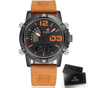 Luxury Analog & Digital Leather Sports Watch - Brown