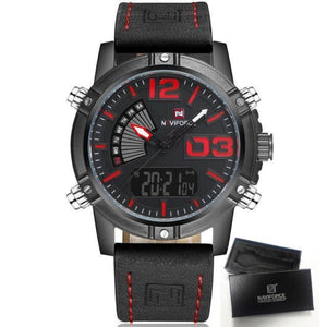 Luxury Analog & Digital Leather Sports Watch - Red