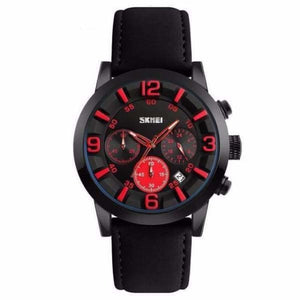 Luxury Leather Strap Multifunction Quartz Wristwatches - Red