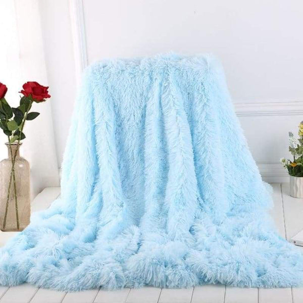 Luxury Long Shaggy Super Soft Blanket - Light Blue / 160x200cm - Blankets