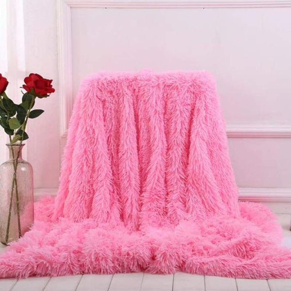 Luxury Long Shaggy Super Soft Blanket - Pink / 160x200cm - Blankets