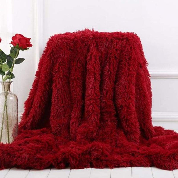Luxury Long Shaggy Super Soft Blanket - Wine Red / 160x200cm - Blankets