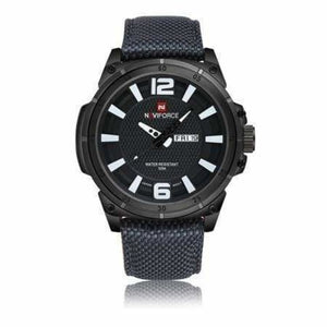 Luxury Mens Nylon Strap Sports Wristwatch - Black