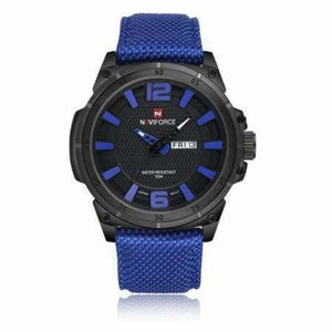 Luxury Mens Nylon Strap Sports Wristwatch - Blue