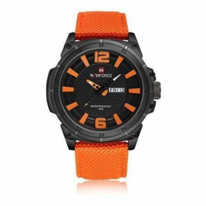 Luxury Mens Nylon Strap Sports Wristwatch - Orange