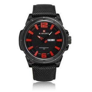 Luxury Mens Nylon Strap Sports Wristwatch - Red