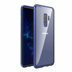 Magnetic Adsorption Flip Phone Case for Samsung Galaxy - Blue-Clear Back / For Galaxy S9 - Flip Cases