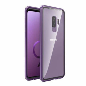 Magnetic Adsorption Flip Phone Case for Samsung Galaxy - Purple-Clear Back / For Galaxy S9 - Flip Cases