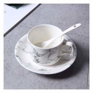 Marble Effect Porcelain Tableware - Dishes & Plates - 3pcs Coffee Cup set - marble-effect-porcelain-tableware