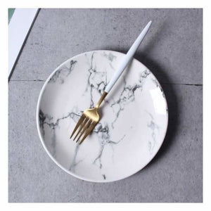Marble Effect Porcelain Tableware - Dishes & Plates - 8 inch Round Plate - marble-effect-porcelain-tableware