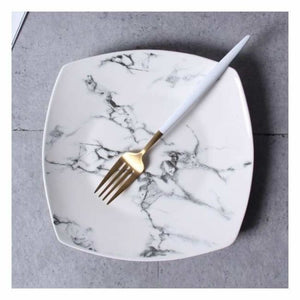 Marble Effect Porcelain Tableware - Dishes & Plates - 8 inch Square Plate - marble-effect-porcelain-tableware
