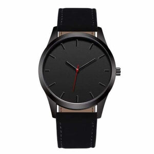 Men Leather Sports Watch - Black - Quartz Watches