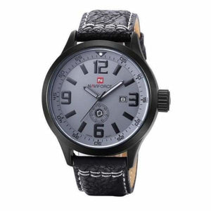 Mens Leather Sport Watch - black grey