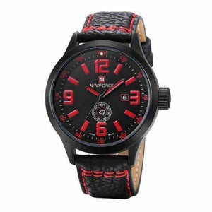 Mens Leather Sport Watch - black red