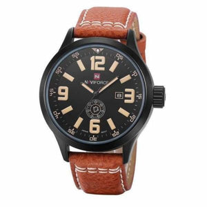 Mens Leather Sport Watch - brown yellow