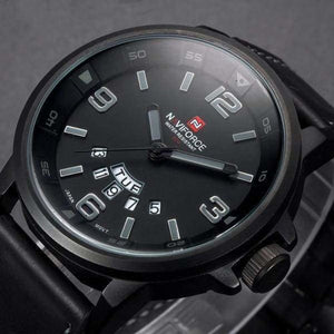 Mens Leather Strap Quartz Sports Watch
