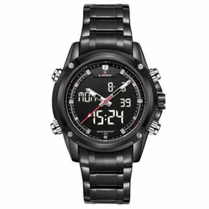 Mens Luxury Military LCD Luminous Analog & Digital Watch - black white