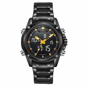 Mens Luxury Military LCD Luminous Analog & Digital Watch - black yellow
