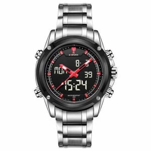 Mens Luxury Military LCD Luminous Analog & Digital Watch - silver red