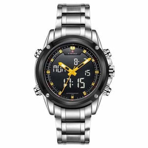 Mens Luxury Military LCD Luminous Analog & Digital Watch - silver yellow