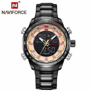 Mens Luxury Steel Quartz Watch with Dual Display - black gold