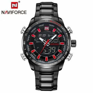Mens Luxury Steel Quartz Watch with Dual Display - black red