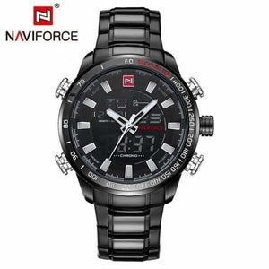 Mens Luxury Steel Quartz Watch with Dual Display - black white