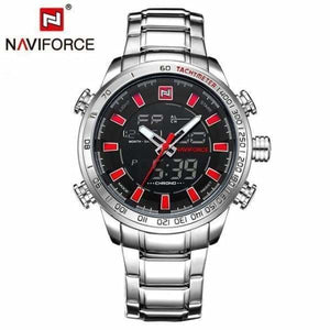 Mens Luxury Steel Quartz Watch with Dual Display - silver red