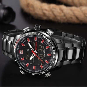 Mens Luxury Steel Quartz Watch with Dual Display