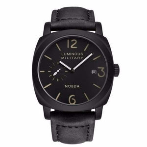 Mens Luxury Watch With Leather Strap - Black