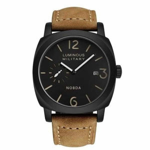 Mens Luxury Watch With Leather Strap - Brown