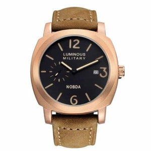 Mens Luxury Watch With Leather Strap - Gold