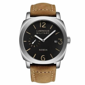 Mens Luxury Watch With Leather Strap - Silver