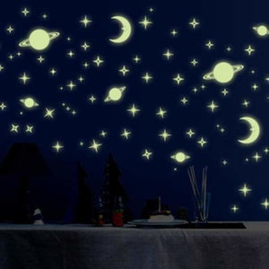 Moon And Stars Glow in the Dark Wall Stickers - Wall Stickers