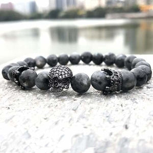 Natural Black Labradorite Beaded Bracelet
