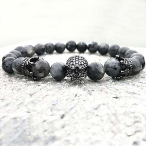 Natural Black Labradorite Beaded Bracelet - Size 18CM