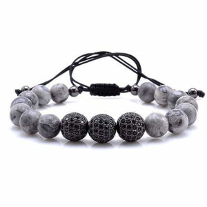 Natural Gray Map Stone Bracelet With CZ Charms - Black 1