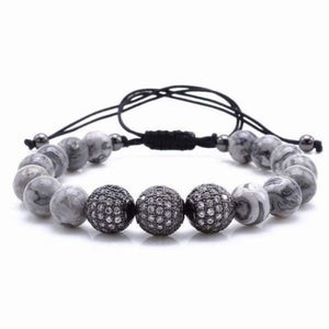 Natural Gray Map Stone Bracelet With CZ Charms - Black 2