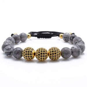 Natural Gray Map Stone Bracelet With CZ Charms - Gold 1