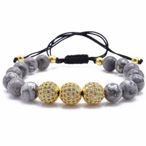 Natural Gray Map Stone Bracelet With CZ Charms - Gold 2