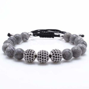 Natural Gray Map Stone Bracelet With CZ Charms - Silver 1