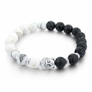 Natural Stone Skull Bracelet Collection - Black White