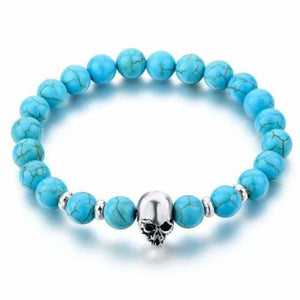 Natural Stone Skull Bracelet Collection - Blue